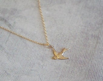 Gold filled swallow bird necklace