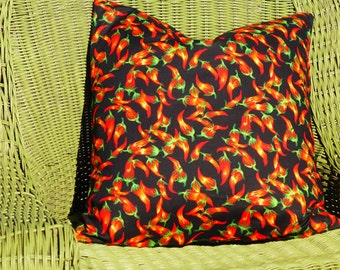 Chili Pepper Pillow Cover, Southwestern, Southwest Style, Country Western, Black and Red Pillow, Western Pillow, Rustic Decor, Ranch Pillow