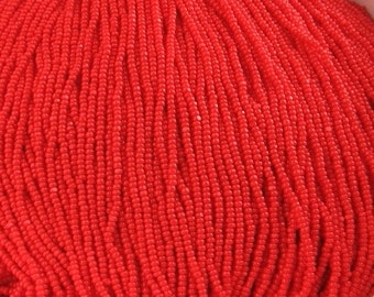 2 Strands 13/0 Scarlet Red Opaque Charlottes Glass Czech Seed Beads. 1 Cut - One Cut.