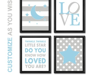 twinkle twinkle little star nursery, moon and stars baby nursery decor, moon and stars nursery blue gray, baby boy nursery art, baby gifts