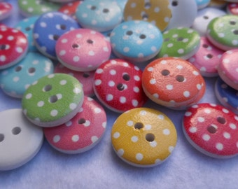 20 Wooden buttons round polka dot in colors Mixed 15mm