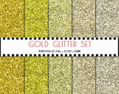 Gold Glitter Digital Paper Background {Texture Pattern Overlay} for scrapbooking - Instant Download