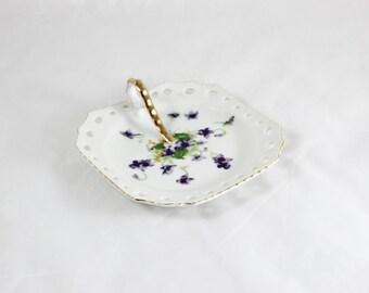 Norcrest Sweet Violets handled dish