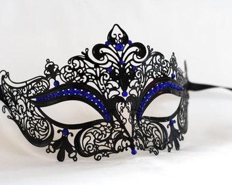 Black masquerade mask, Laser cut metal masqurade mask with royal blue gems, Prom masquerade ball party