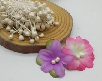 large white flower pistil handmade flower making materials cute diy accessory fake mini flower head stamen