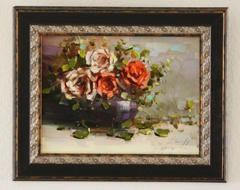 Vase of Roses Oil painting Flowers Framed Original painting Classic art  9 x 12 in Gallery Quality One of a Kind  Ready to hang