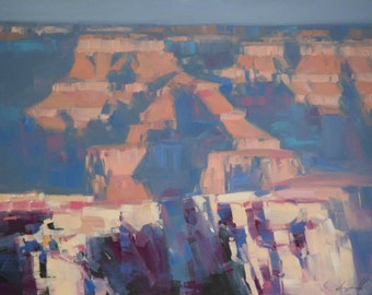 Grand Canyon Landscape Original Large oil Painting on Canvas Impressionism Handmade Artwork Signed Unique Painting Wall art  One of a Kind