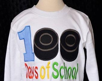 100 Days of School Hockey Pucks Applique Shirt or Onesie Boy or Girl