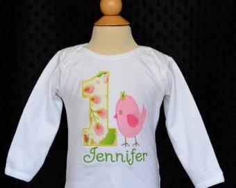 Personalized Birthday Bird Applique Shirt or Onesie Girl or Boy
