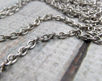 Stainless Steel Necklace Chain - 5 foot package- 4x3mm cable chain - Stainless Steel by the foot- Stainless Steel Bulk Chain (113)