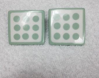 1960's Mint Green Poka Dot Square Earrings