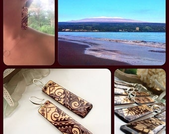 ohe k pala wood earrings sterling silver nalu wave maile lei lauhala weave design hawaiian. Black Bedroom Furniture Sets. Home Design Ideas