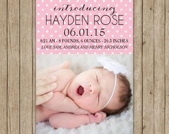 Custom birth announcement with polka dots- digital file 5x7