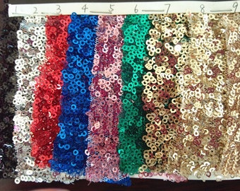 1Yard Sequin Fabric, bridesmaid dress fabric, Wedding Decoration,Tablecloth Sparkly and Shiny Grown Embroidery Fabric 18 Colors for Choose