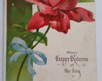 Red Rose UNUSED Embossed Many Happy Returns of the Day Vintage Postcard