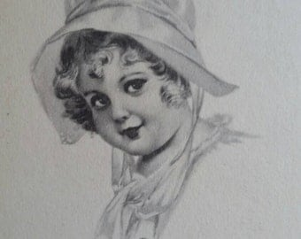 Vintage Collectible Black & White Postcard with Young Girl in Bonnet