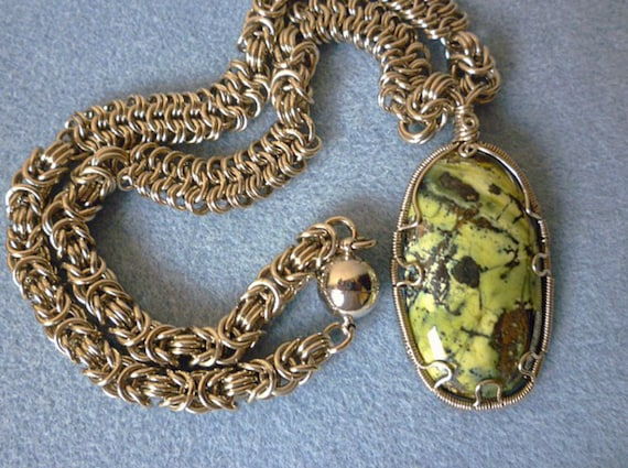 Natural stone necklace serpentine wire wrapped jewelry  Natural stone n...