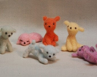 Needle Felted Puppy Dog Wool Miniature Animal Blythe Doll Pet- one puppy