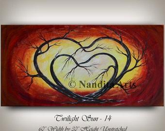 ABSTRACT modern art two HEART PAINTING red beautiful tree art contemporary art valentine gift art decor artist Nandita
