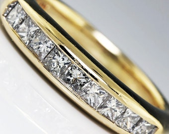 0.50ctw Princess Diamond Channel Set Wedding Ring Anniversary Band Yellow Gold