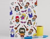 Harry Potter Characters Card Set of 3 / Geeky Stationary / Gift for Kids