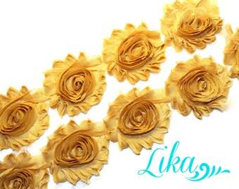 Mustard Shabby Flower Trim - 1/2 yard - Shabby Rose trim - Shabby Flowers - Chiffon Flower - Wholesale - Shabby Chic - Rose Trim