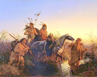 Beautiful 8x10 Canvas Indian Print-The Captive Charger by Karl Ferdinand