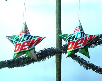 Recycled Diet Mountain Dew Soda Can Aluminum Stars - 2 Christmas Ornaments or Gift Toppers