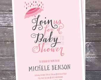 Printable Umbrella Baby Shower Invitation