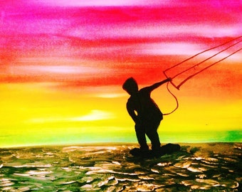Kiteboard Surfer Painting