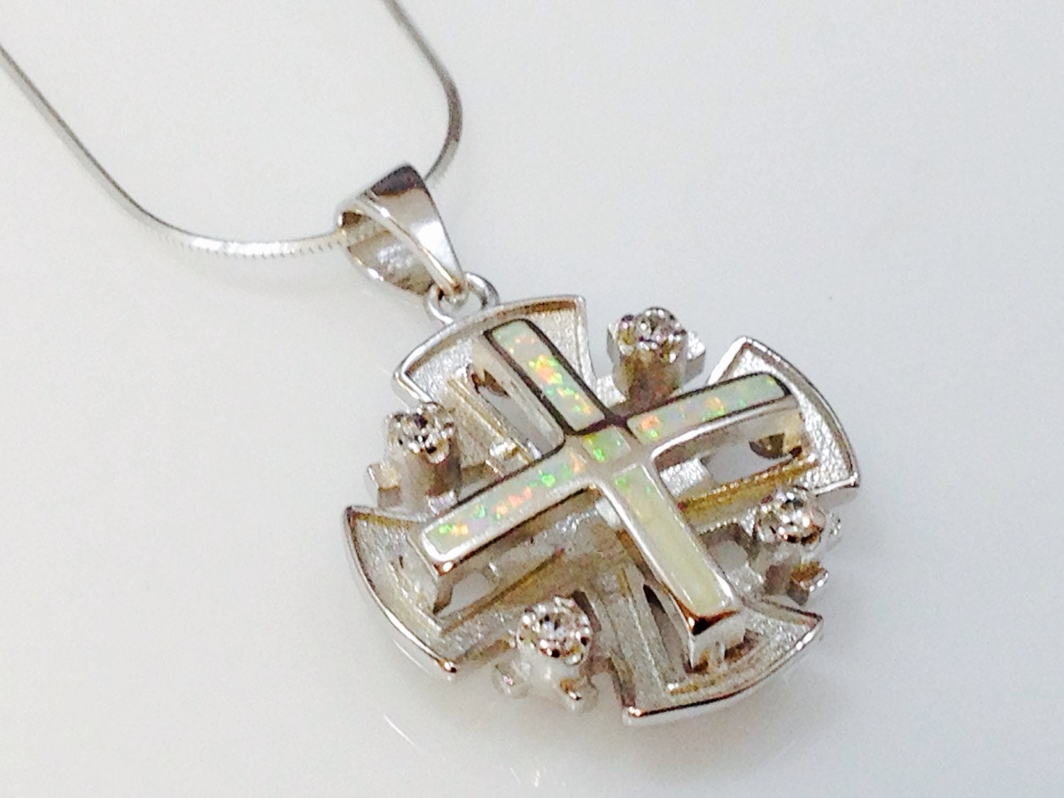 jerusalem cross pendant white opal sterling silver 925 by