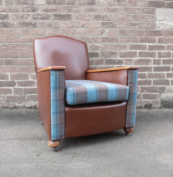 Art deco lounge armchair tan leather fabric seat fully restored 1930s - Deco lounge grijs en beige ...