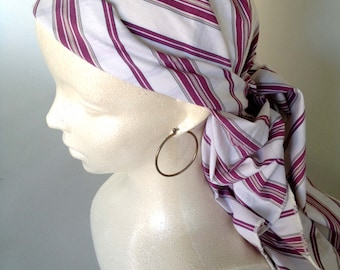 Woven Red and White Striped Cotton Authentic Pirate Headscarf Bandana