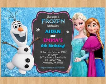 Sibling Birthday Invitation, Frozen Invitation Olaf Elsa Anna, Double Invitation Dual Twin Printable Birthday Party Digital Invite Boy Girl
