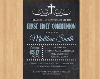 First Communion Invitation Boy, Boy First Communion Invitation, First Communion Invitation Printable, First Communion Boy, Twins Chalkboard