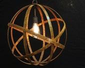 "Orb Chandelier Industrial Sphere Metal strap Globe Hanging Light 24"" with Single Socket | Wine Barrel Orb Chandelier Hanging Sphere"