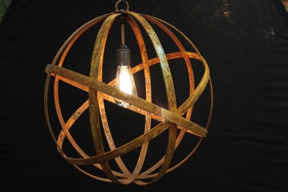 Orb Chandelier Industrial Sphere Metal Strap By