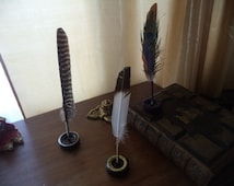 Feather Quill Pen Stand Painted Glittered