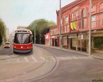 "Toronto Street Car on Carlton - 18""x24"" - original acrylic painting, Toronto, street scene, urban realism, Cabbagetown"