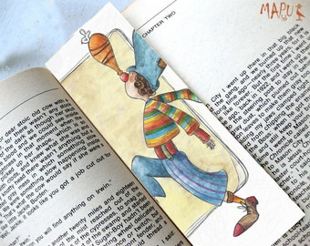 Bookmark Gift, Unusual Art Bookmark, Juggling drawing, Bookworm Bookmark, Funny Bookmarks, Gift for artist 'The Juggling Clown', Mapulab