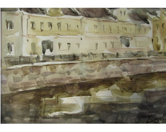 Moscow River - Summer in the City - original watercolor