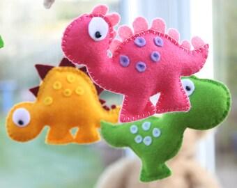 Dinosaur Baby Nursery Mobile / Felt Dinosaurs / Baby Shower Gift / MADE TO ORDER