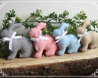Cute Easter Bunny,Set of 4 Bunny,Easter Bunny Decor,Easter Bunny Ornaments,Stuffed Bunny Easter,Bunny with Ribbon,Easter Decoration
