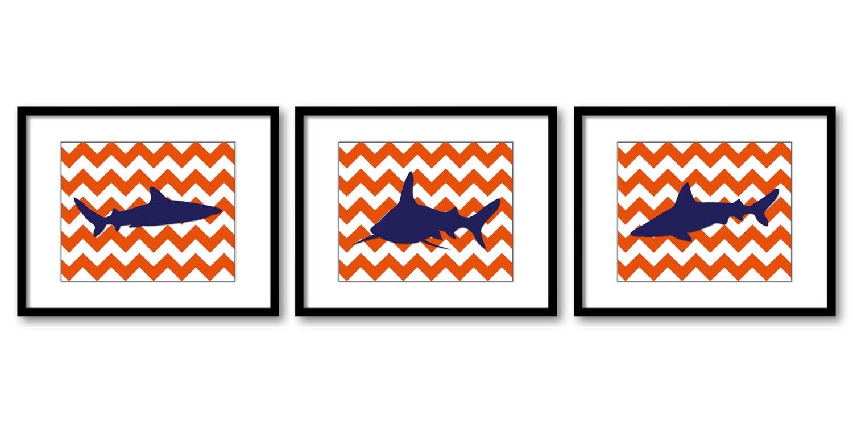 Shark Animals Art Prints Orange Chevron Set of 3 Navy Blue Sharks Nursery Art Child Kids Room Wall A
