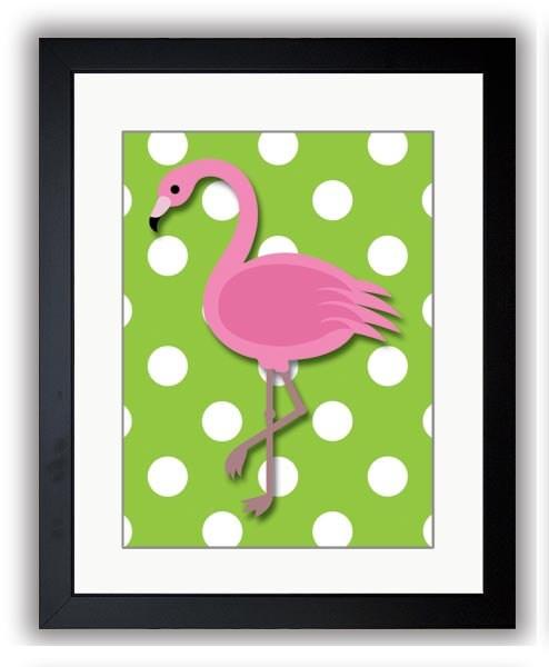 Pink Lime Green Polka Dots Flamingo Art Child Art Print Girls Pink Kids Room Wall Art Decor Girls Ar