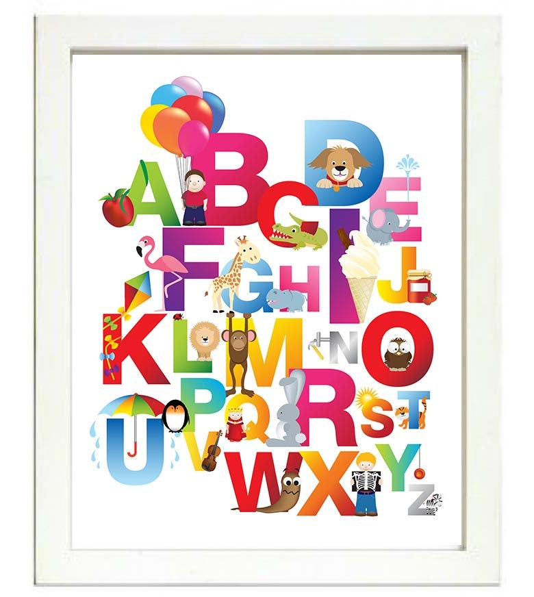 Alphabet Kids Room Nursery Art ABC Letters Nursery Print Animals Balloon Kite Child Baby Art Print P