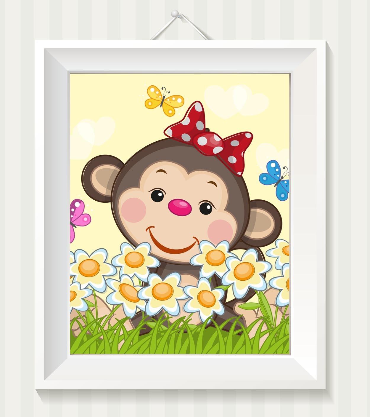 Girl Monkey Nursery Art Monkey Nursery Print Baby Art Baby Animal Brown Beige Yellow Dasies Flowers