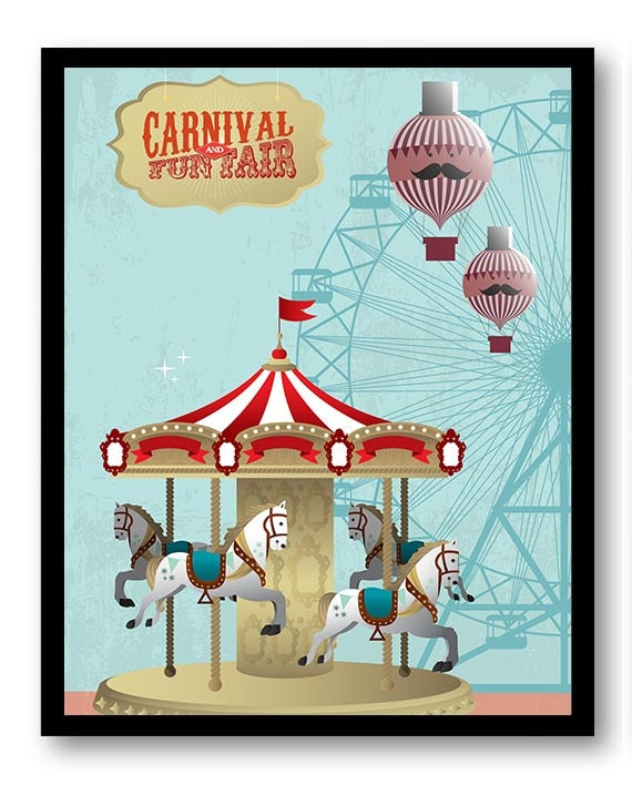 Carnival and Fun Fair Nursery Art Nursery Print Child Baby Art Old Vintage Circus Red Blue Merry go