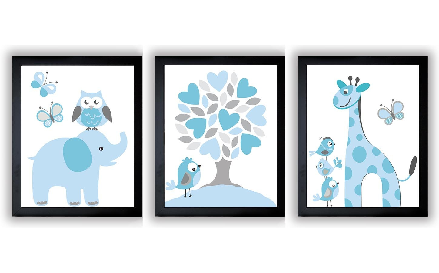 Blue Grey Boys Nursery Art Print Set of 3 Elephant Owl Bird Tree Giraffe Baby Nursery Print Child Ki