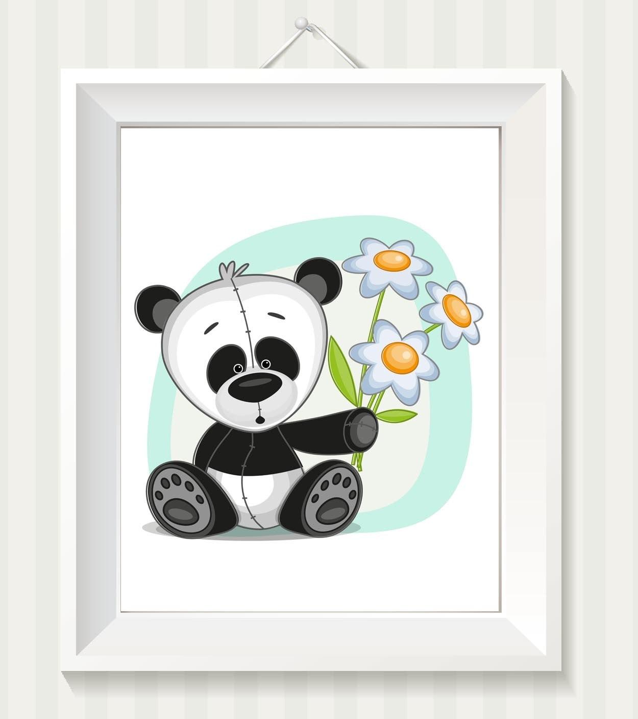 Panda Bear Nursery Art Nursery Print Koala Bear Baby Art Baby Animal Black White Dasies Flowers Prin